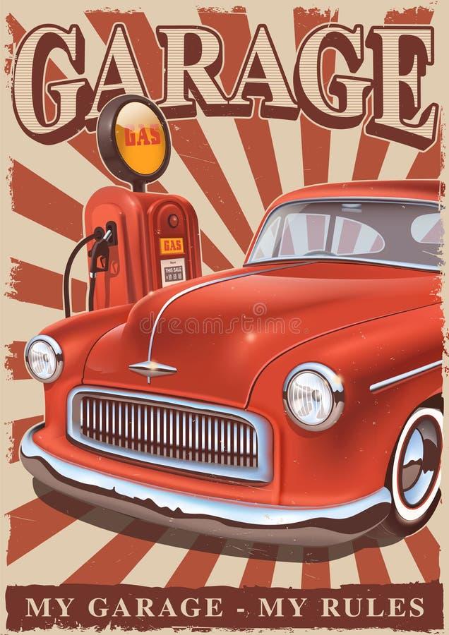 Manifesto d'annata con l'automobile classica e la vecchia pompa di gas illustrazione vettoriale