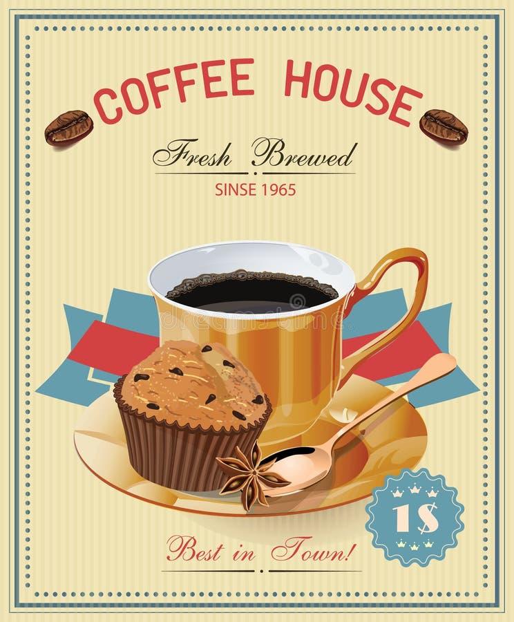 Manifesto d'annata con la tazza di caffè Vettore illustrazione di stock