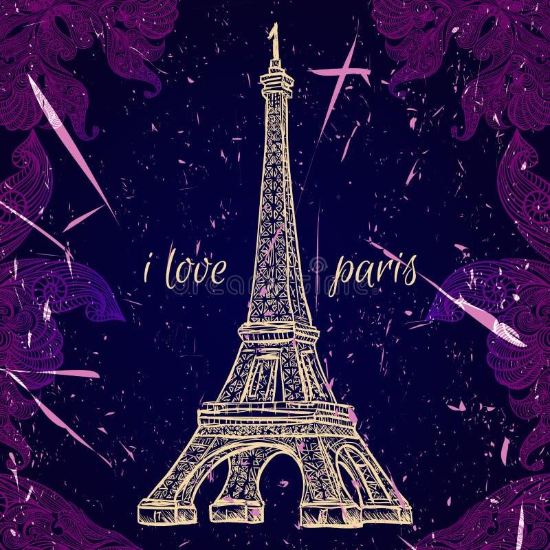 Manifesto d'annata con la torre Eiffel sui precedenti di lerciume Retro illustrazione nello stile di schizzo 'amo Parigi' illustrazione vettoriale