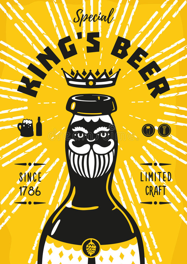 Manifesto d'annata con una bottiglia di birra e un re illustrazione di stock