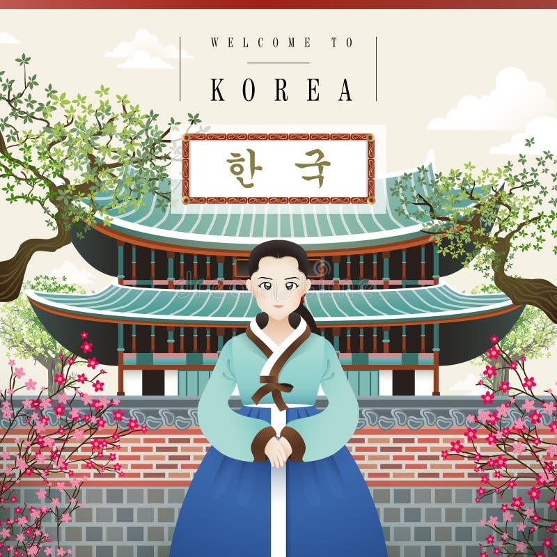 Manifesto d'annata coreano illustrazione vettoriale