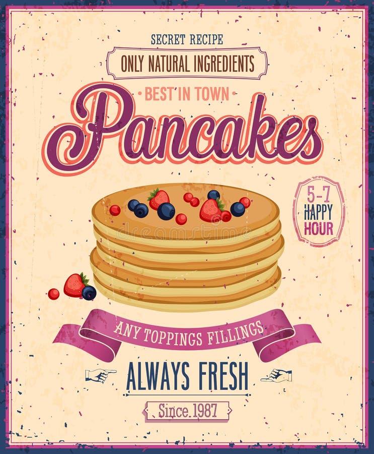 Manifesto d'annata dei pancake. illustrazione vettoriale