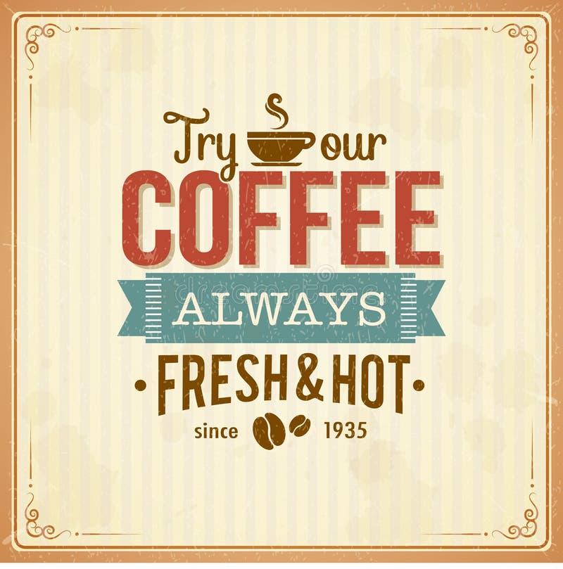 Manifesto d'annata del caffè con gli effetti di lerciume illustrazione di stock