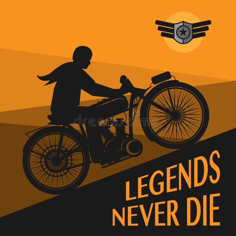 Manifesto d'annata del motociclo royalty illustrazione gratis