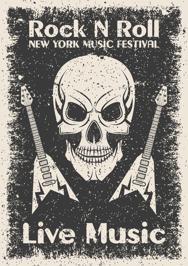Manifesto d'annata del rotolo della roccia n Cranio e chitarra tipografici per la stampa, maglietta, progettazione del T royalty illustrazione gratis