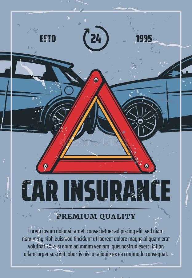 Manifesto d'annata dell'assicurazione auto con l'incidente stradale illustrazione di stock