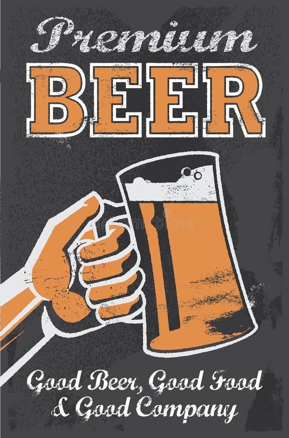 Manifesto d'annata della birra della fabbrica di birra - illustrazione di vettore della lavagna illustrazione vettoriale
