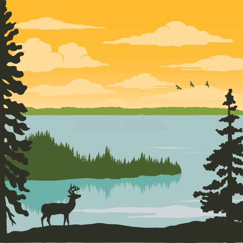 Manifesto d'annata della natura - alce nel lago royalty illustrazione gratis
