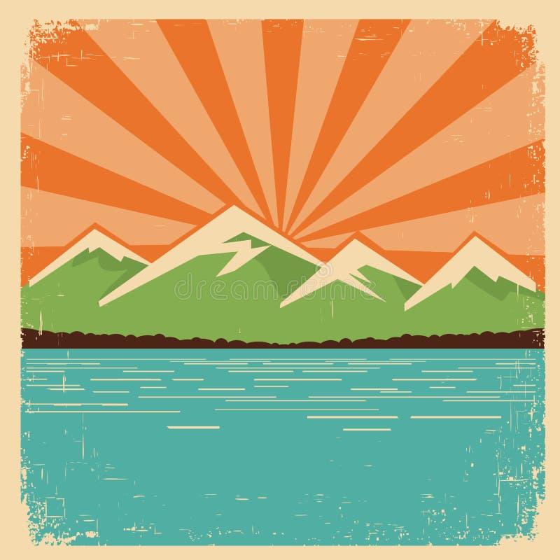 Manifesto d'annata della natura. Orizzonte delle montagne illustrazione di stock