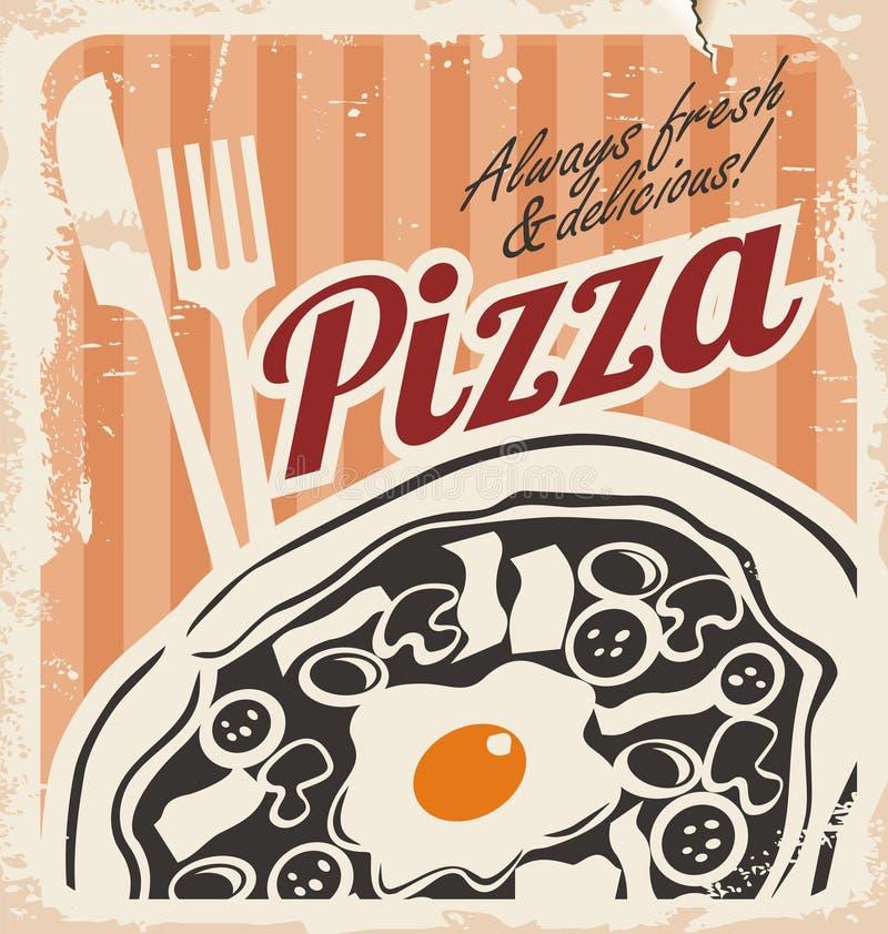 Manifesto d'annata della pizza su vecchia struttura di carta illustrazione vettoriale