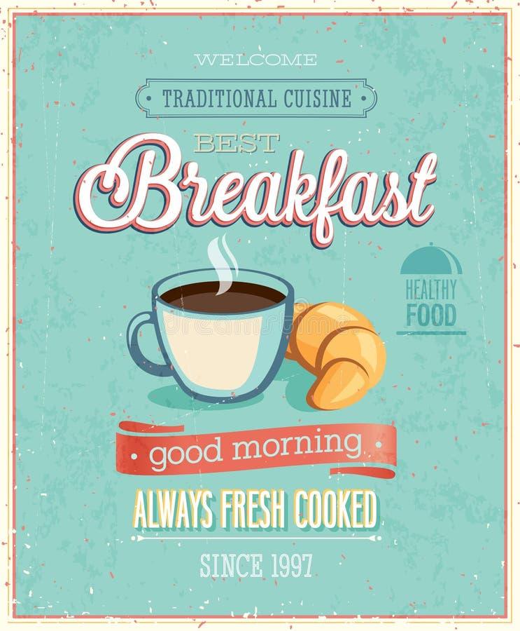 Manifesto d'annata della prima colazione. illustrazione di stock