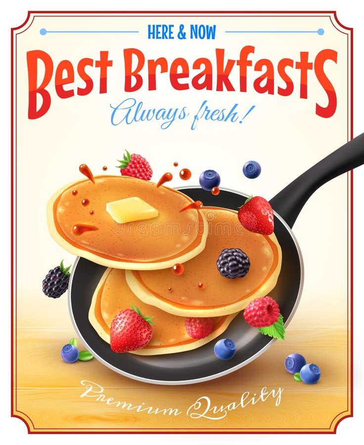 Manifesto d'annata della pubblicità delle migliori prime colazioni illustrazione di stock