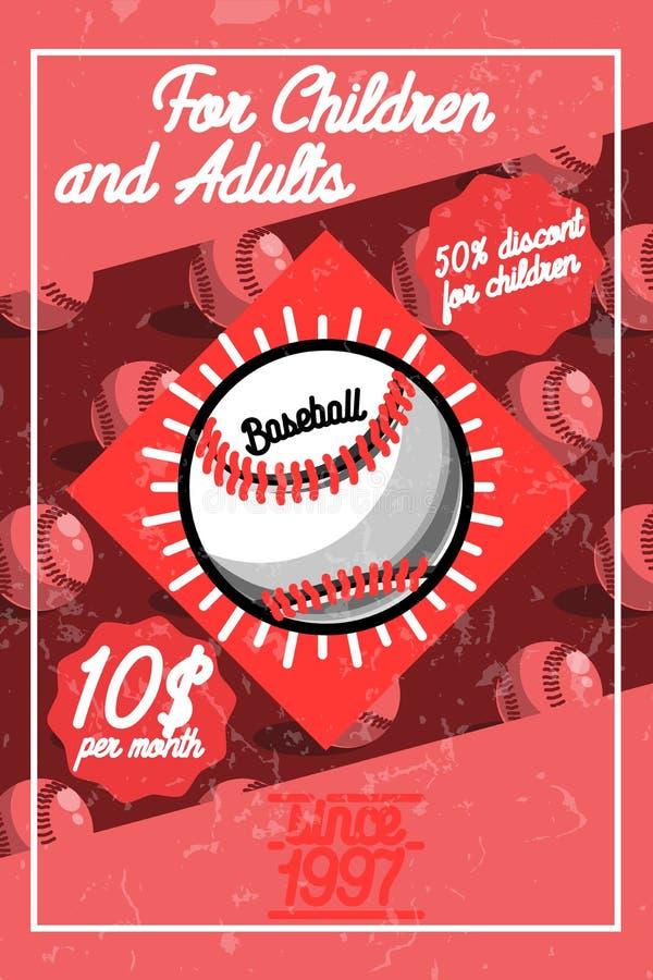 Manifesto d'annata di baseball di colore illustrazione di stock