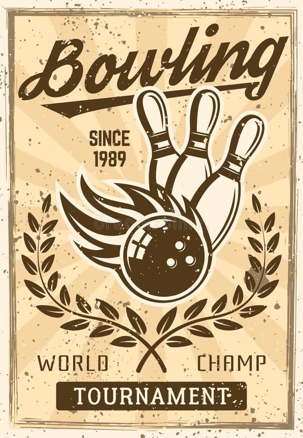 Manifesto d'annata di bowling con la palla bruciante, birilli illustrazione vettoriale