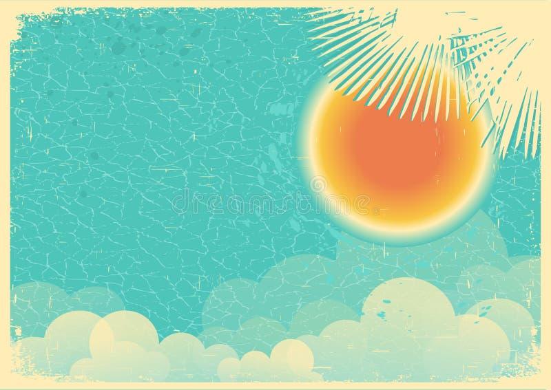 Manifesto d'annata di cielo blu e delle nuvole su vecchia carta illustrazione vettoriale