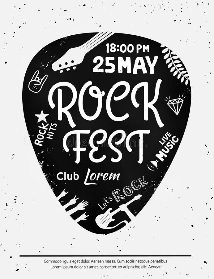Manifesto d'annata di festival rock con le icone di rock-and-roll sul fondo di lerciume Formato di vettore illustrazione di stock