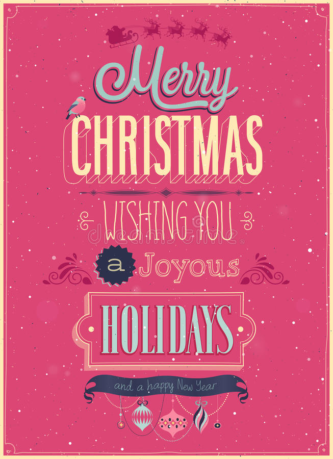 Manifesto d'annata di Natale. illustrazione vettoriale