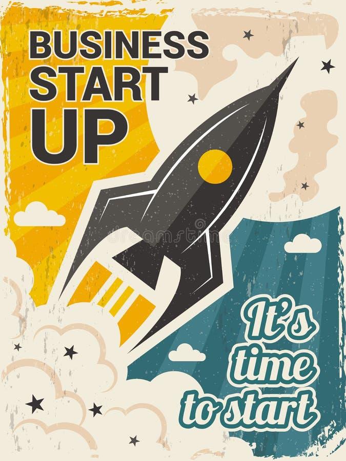 Manifesto d'annata di partenza Concetto del lancio di affari con il razzo o il cartello di vettore di inizio della navetta spazia royalty illustrazione gratis