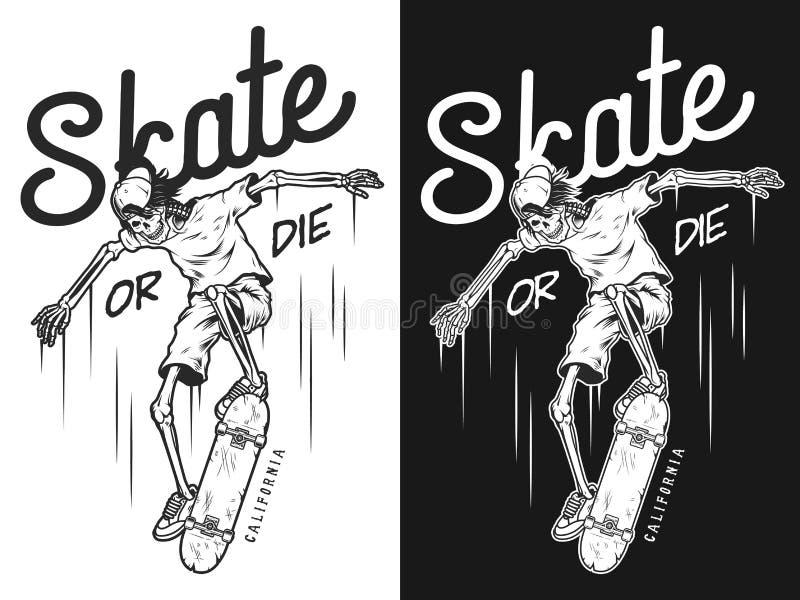 Manifesto d'annata di skateboarding illustrazione vettoriale
