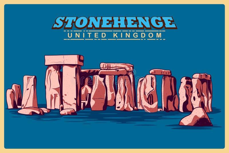Manifesto d'annata di Stonehenge in monumento famoso del Wiltshire nel Regno Unito illustrazione di stock