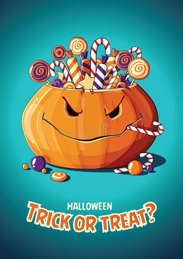 Manifesto d'annata di vettore di Halloween Trucco o ossequio Zucca e caramella illustrazione di stock