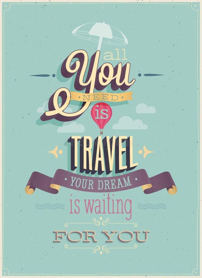 Manifesto d'annata di viaggio. illustrazione vettoriale