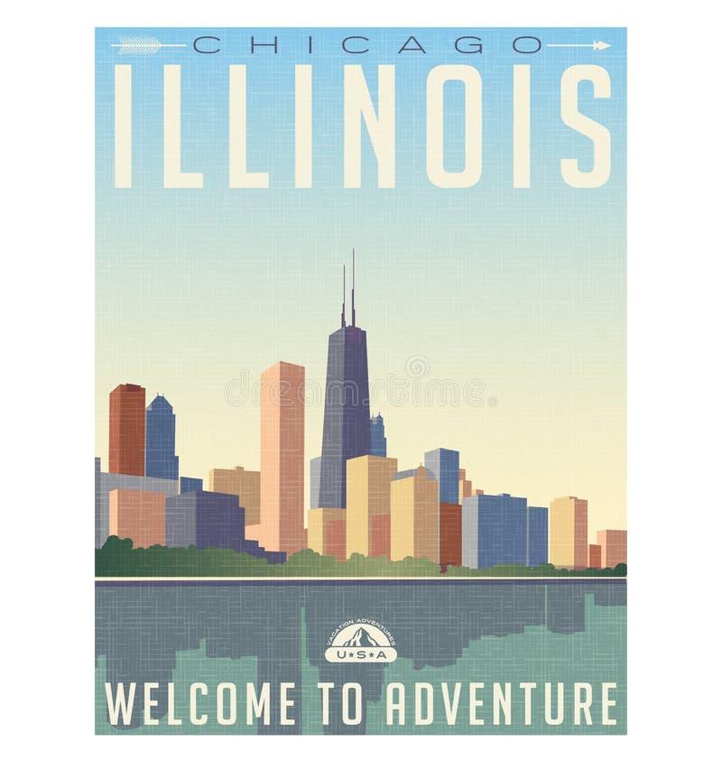 Manifesto d'annata di viaggio di stile dell'orizzonte di Chicago Illinois illustrazione di stock