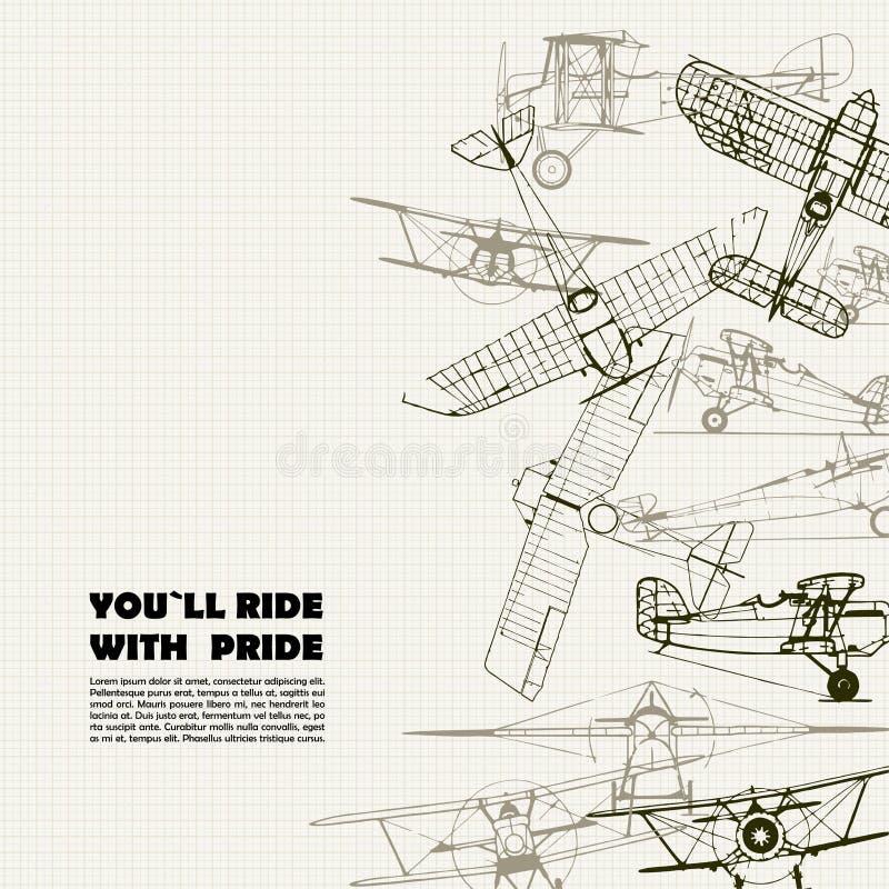 Manifesto d'annata di viaggio Illustrazione stilizzata dell'aeroplano royalty illustrazione gratis