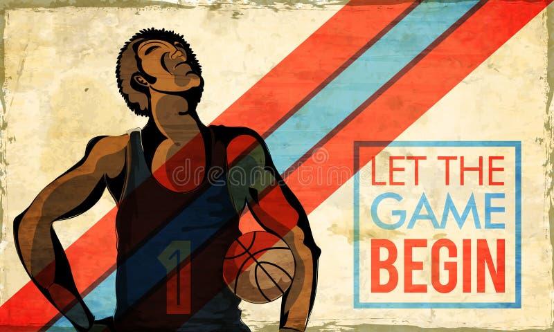 Manifesto d'annata, insegna o aletta di filatoio per gli sport illustrazione di stock