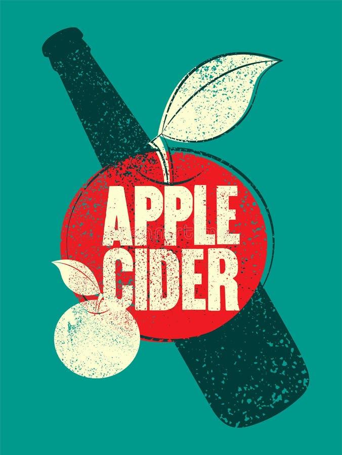 Manifesto d'annata tipografico di stile di lerciume del sidro di Apple Retro illustrazione di vettore royalty illustrazione gratis