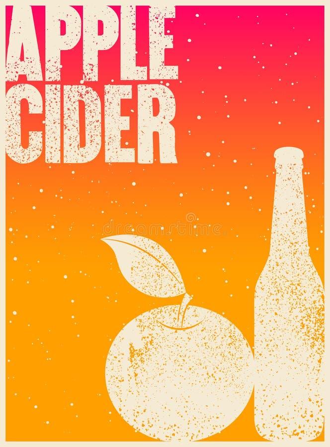 Manifesto d'annata tipografico di stile di lerciume del sidro di Apple Retro illustrazione di vettore illustrazione vettoriale