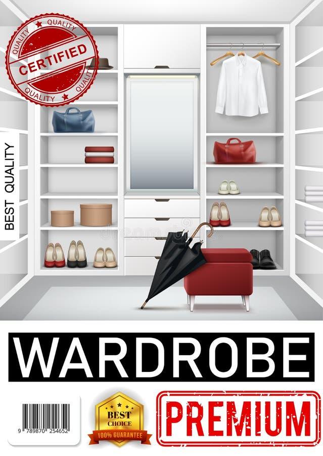 Manifesto d'avanguardia realistico della stanza del guardaroba illustrazione di stock