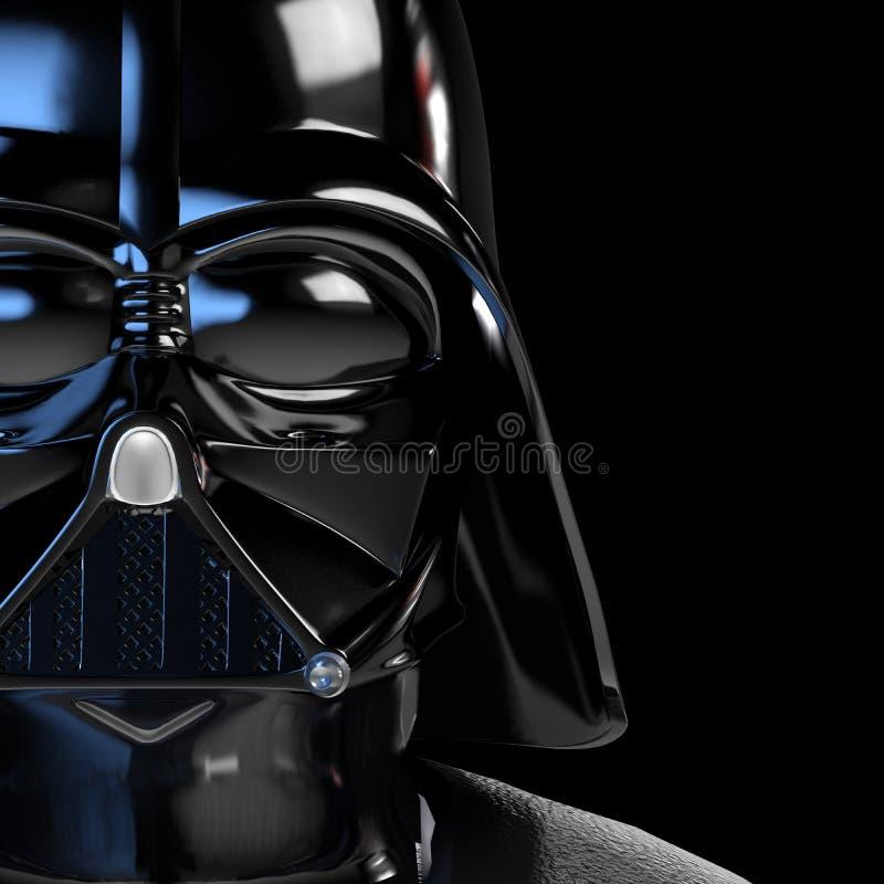 Manifesto 3d della maschera di Vader illustrato