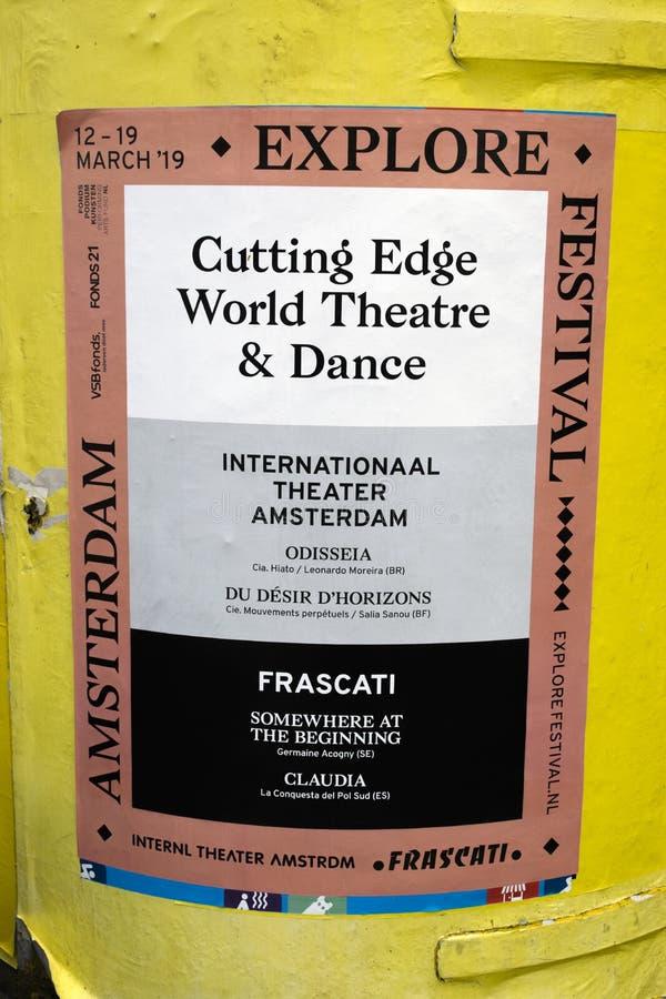 Manifesto dal teatro & dal ballo del mondo dell'avanguardia del teatro di Frascati a Amsterdam il Nehtherlands 2019 fotografia stock libera da diritti