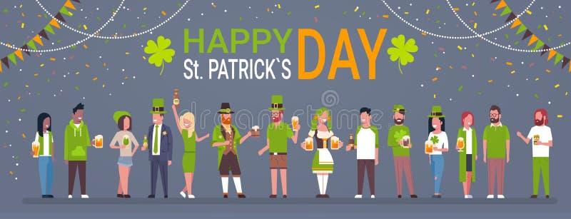 Manifesto decorativo per il gruppo di persone di Patrick Day Horizontal Banner With del san felice in vestiti irlandesi tradizion royalty illustrazione gratis