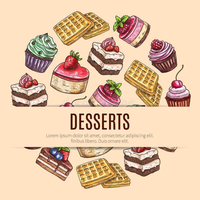 Manifesto dei dessert del dolce per progettazione del negozio di pasticceria illustrazione di stock
