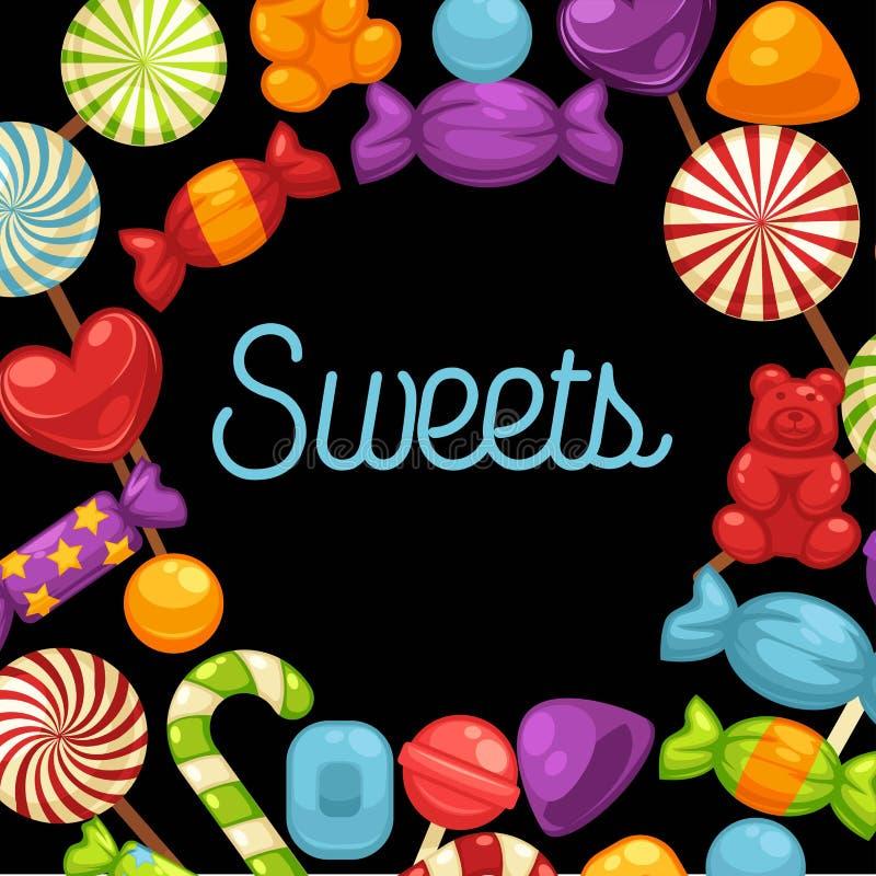 Manifesto dei dolci del caramello e delle caramelle per il negozio della caramella o della confetteria royalty illustrazione gratis