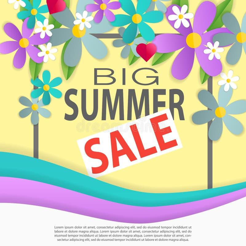 manifesto dei fiori di carta 3d con il titolo di offerta speciale della raccolta di estate all'illustrazione concentrare di vetto royalty illustrazione gratis