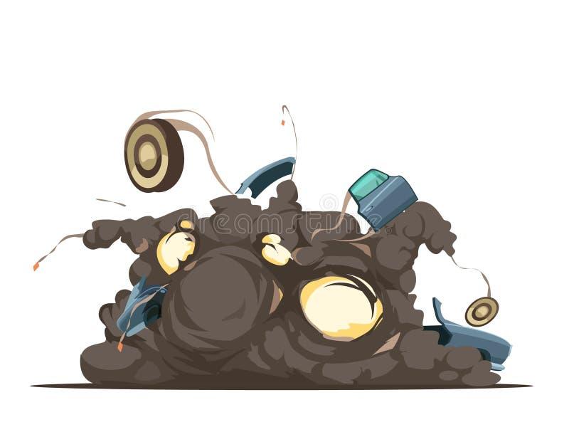 Manifesto del cartone di esplosione dell'autobomba retro illustrazione di stock
