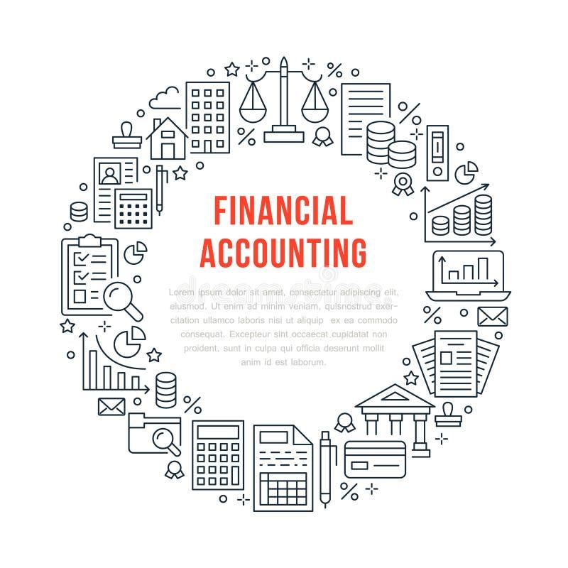 Manifesto del cerchio di conto finanziario con la linea piana icone Concetto dell'opuscolo di contabilità, ottimizzazione di impo illustrazione di stock