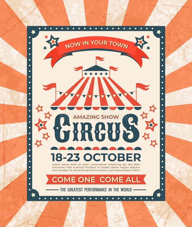 Manifesto del circo Struttura d'annata dell'insegna di carnevale vecchia, cartolina d'auguri magica di manifestazione, retro cart illustrazione di stock