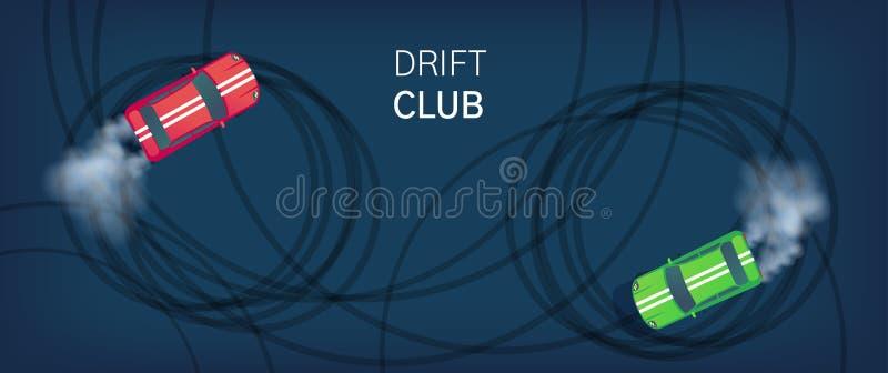Manifesto del club della deriva o insegna di web Automobile sportiva che va alla deriva sulla pista di corsa Concorrenza del Moto illustrazione vettoriale
