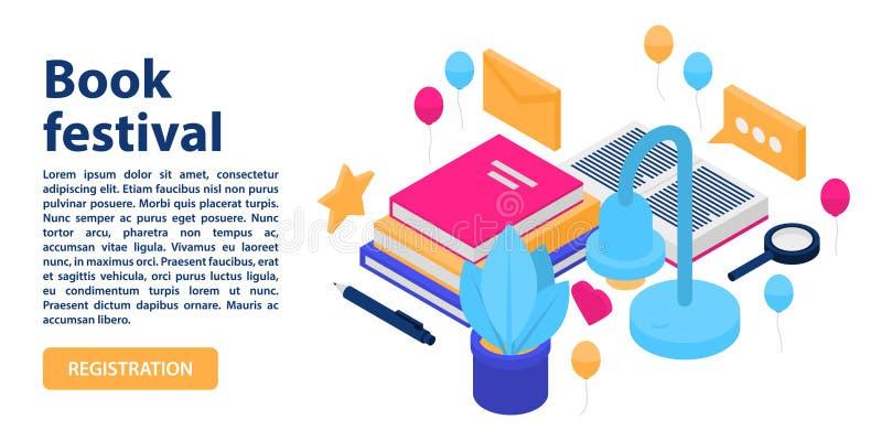 Manifesto del concetto di festival del libro, stile isometrico illustrazione di stock
