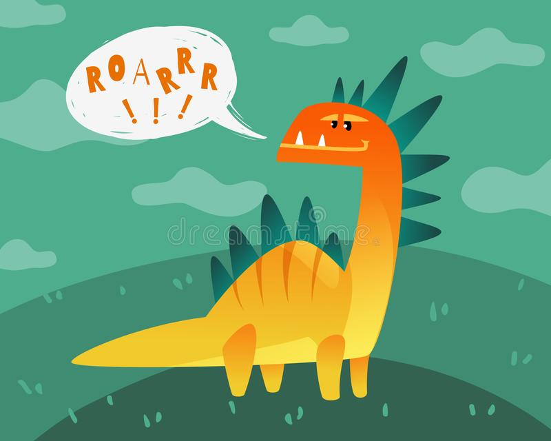 Manifesto del dinosauro I bambini divertenti svegli dei mostri di Dino stampano pianamente la carta da parati animale felice dell illustrazione vettoriale