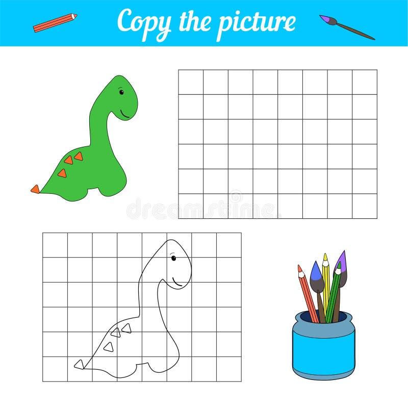 Manifesto del dinosauro del libro da colorare Tiraggio di stile del fumetto Gioco educativo Per l'età di scuola primaria e della  illustrazione vettoriale