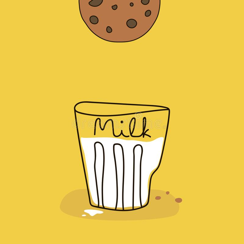 Manifesto del fumetto con bicchiere di latte ed i biscotti su fondo giallo Illustrazione divertente di vettore illustrazione di stock