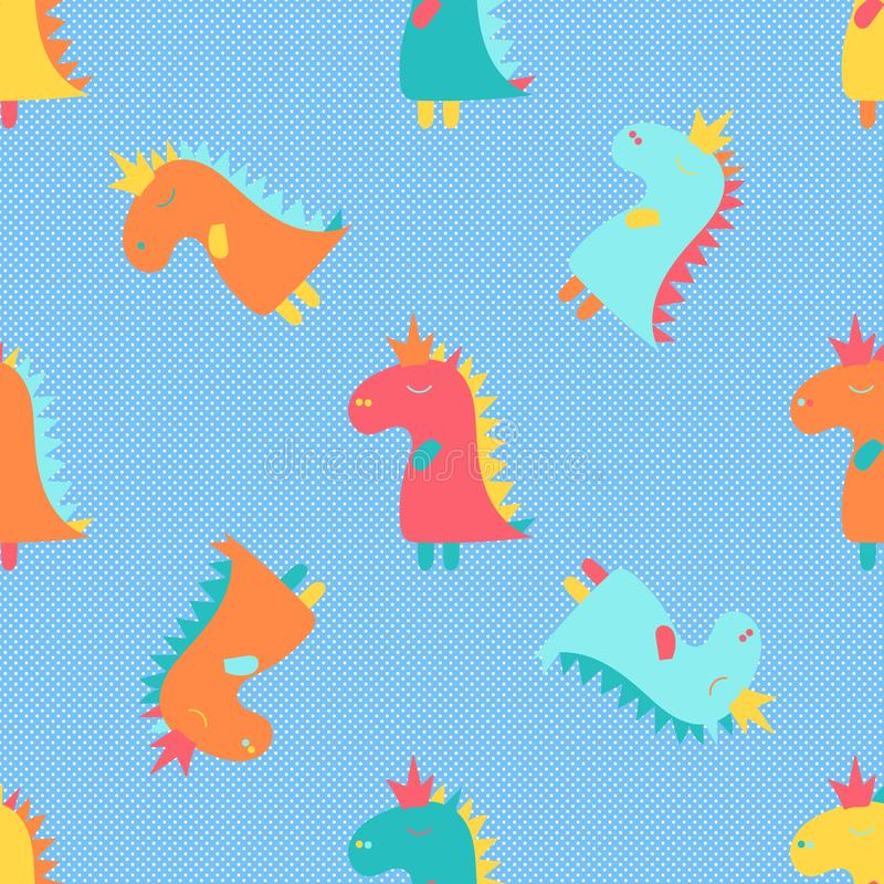 Manifesto del fumetto con il modello variopinto del dinosauro del bambino del fumetto per progettazione dell'insegna Stampa decor illustrazione di stock
