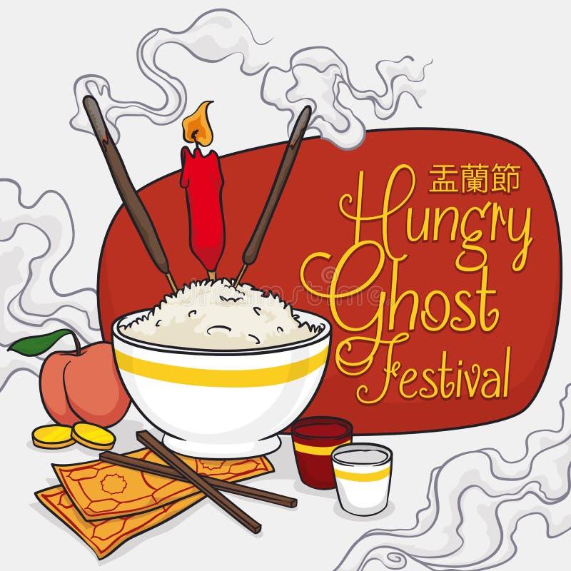 Manifesto del fumetto con le offerti agli antenati nel festival di fantasma, illustrazione di vettore illustrazione vettoriale