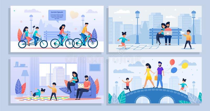 Manifesto del fumetto messo con le varie attività della famiglia illustrazione di stock