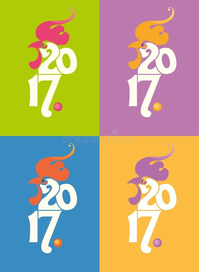Manifesto 2017 del gallo Quattro opzioni illustrazione di stock